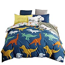 Ningkotex Cartoon Dinosaurs Print Kid's Duvet Cover Set Blue King Queen Full Boy's Bedding Sets (King)
