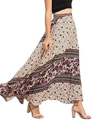 Milumia Women's Vintage Bohemian Floral Print High Waist Long Maxi Skirt