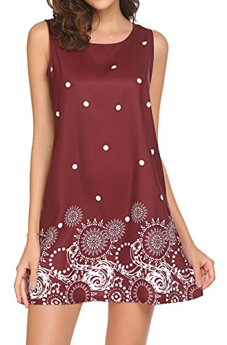 Sleeveless Summer Sundresses LuckyMore Womens Dress T Dress Shirt Wine Red Beach 01 Tank Floral 8wR4qfUR
