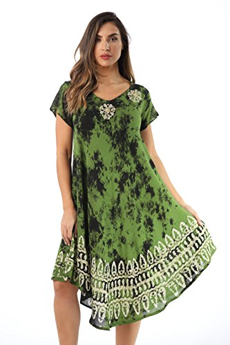- Riviera Sun 21803-OLV-1X Dress Dresses for Women Olive/White