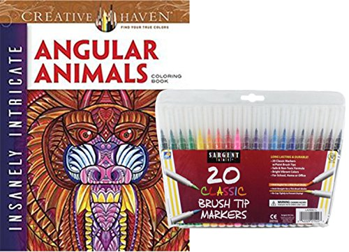 Fanciful Hat Pins (Dover Adult Coloring Book, Insanely Intricate Angular Animals and Sargent Art Firm Brush Tip Markers in a Case, Set of 20: Stress Relieving, Elaborate Wild Creatures to Color and)