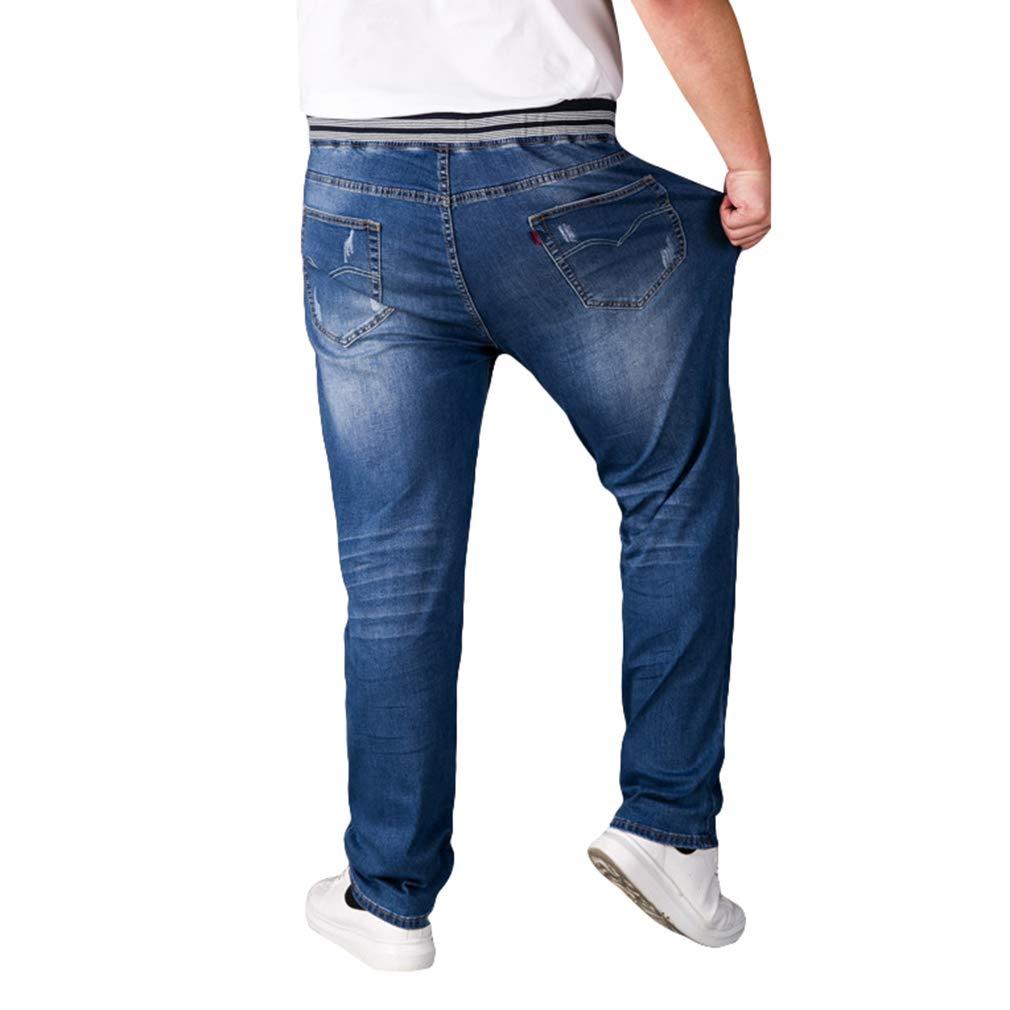 Hombre Pantalones Vaqueros Cintura Elástica Talla Grande Vaqueros Grande Suelto Straigth Pantalones 3 Colorear M-5XL
