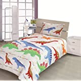 Children's Kids COT BED SIZE DINOSAUR DESIGN BOYS DUVET COVER AND PILLOWCASE SET By Viceroybedding
