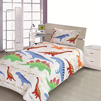 Childrens Kids SINGLE BED SIZE DINOSAUR DESIGN BOYS DUVET COVER AND PILLOWCASE SET By Viceroybedding