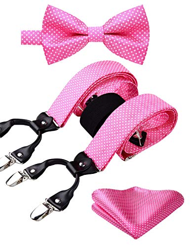 HISDERN Polka Dot 6 Clips Suspenders and Bow Tie Set Y Shape Adjustable Braces Pink