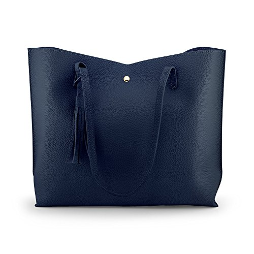 - OCT17 Women Tote Bag - Tassels Faux Leather Shoulder Handbags, Fashion Ladies Purses Satchel Messenger Bags (Navy)