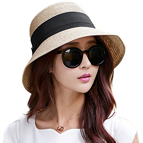 Siggi Floppy Summer Sun Beach Straw Fedoras Hats Wide Brim for Women Beige