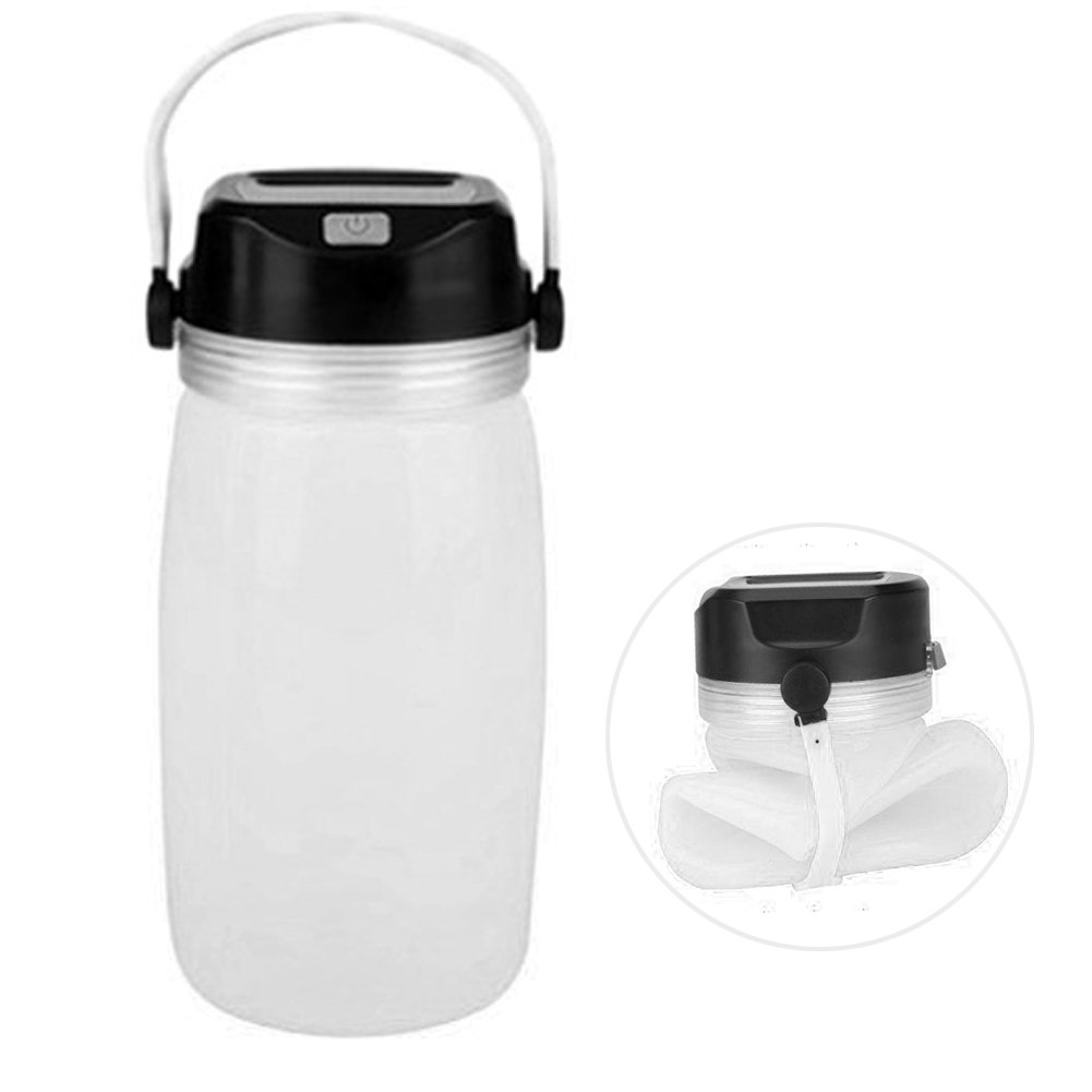Foldable Solar LED Light Water Bottle - Multifunctional Rechargeable Waterproof Silicone Camping Lantern - USB Power Bank - Night Lighting Kettle