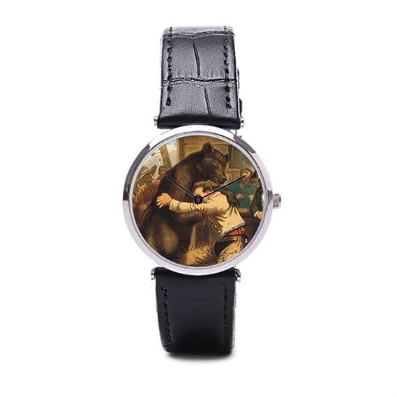 puppya hombre piel relojes imagen muñeca relojes Marcas país bar negro/plata: Amazon.es: Relojes