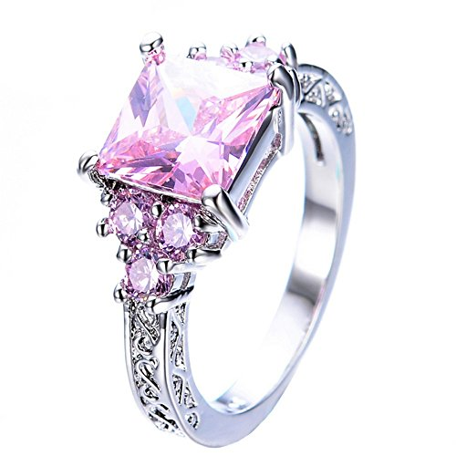 PSRINGS Princess Cut Pink Sapphire Ring Elegant White Gold Filled Jewelry Wedding CZ Rings - Reviews Banner Mattress