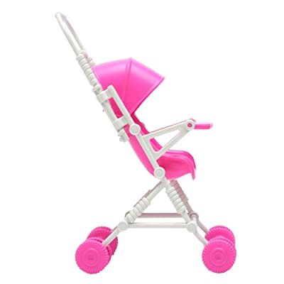Wrisky New Assembly Pink Baby Stroller Trolley Nursery Furniture Toys For Barbie Doll