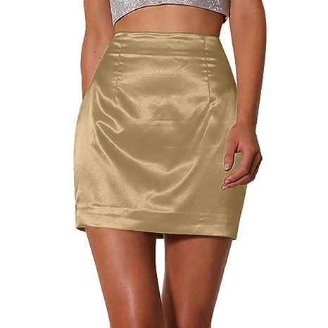 Falda de verano para mujer, de satén, sexy, lisa, con cremallera ...