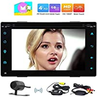 Eincar Android Car DVD Player Double 2 Din Quad-Core Car Stereo with Android 6.0 HD Touch Screen Support GPS Sat Nav WIFI Mirror Link 3G/4G OBD DAB SWC Bluetooth Radio FM AM RDS Enable+Wireless Camera