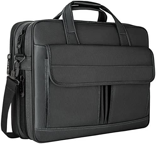Laptop Bag 15.6 Inch,Water Resistant Briefcase, 15inch Expandable Messenger Shoulder Bag with Strap, Taygeer Carry On Handle Case for Computer/Notebook/Tablet for Business Men/Women, Black
