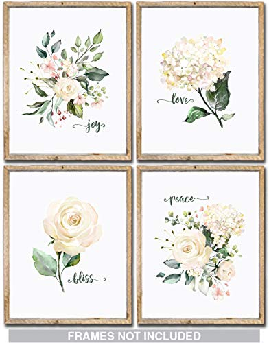 Confetti Fox Floral Nursery Decor Wall Art - Peace Love Joy Bliss - 8x10 Unframed Set of 4 Pearl Prints - Baby Girl Inspirational Flowers Watercolor White Pink Rose Hydrangea