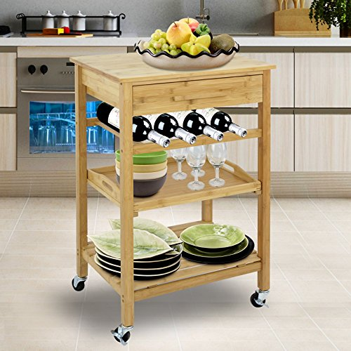 SUPER DEAL Bamboo Rolling Storage Cart Kitchen Trolley Bakers Cart Wine Rack w/ Drawers and Shelves