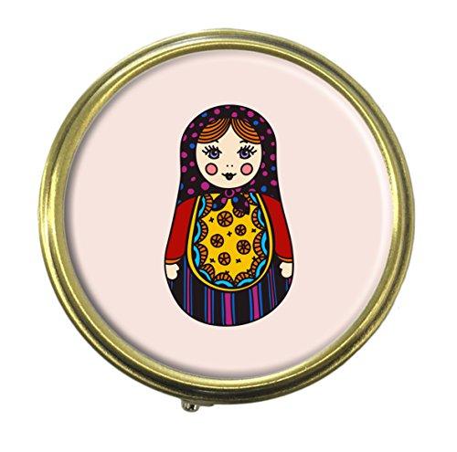 Luxcase Funny Russian dolls Custom Round Bronze Pill Box Pocket Medicine Tablet Holder Organizer Pill Decoration Case Wallet