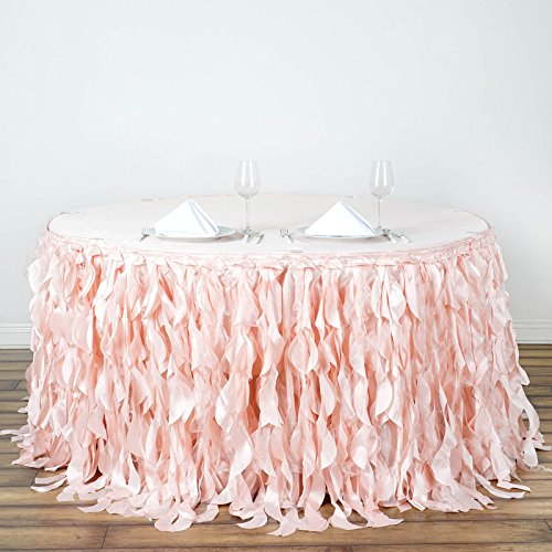 BalsaCircle 21 feet x 29-Inch Blush Curly Waves Taffeta Table Skirt Linens