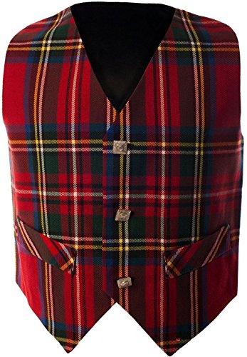 Boys Waistcoat, Silk Back Adjustable buckle Royal Stewart Tartan 5 year ()