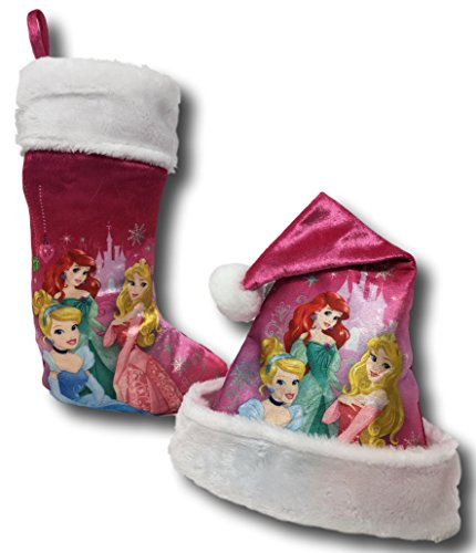 - Disney Princess Cinderella, Ariel & Rapunzel Christmas Pink Santa Hat & Stocking Set (Princess Pink Cinderella, Ariel & Rapunzel)