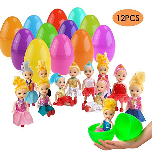 ESSENSON 12 Pack Jumbo Easter Eggs with Doll Inside, Colorful Pre Plastic Easter Eggs for Boys Girls Easter Gifts Easter Basket Stuffers Fillers