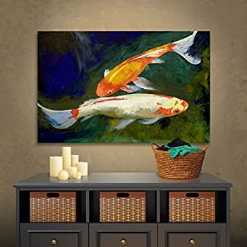 Art Wall Feng Shui Koi Fish Gallery Wrapped Canvas Art by Michael Creese, 18 by 24-Inch