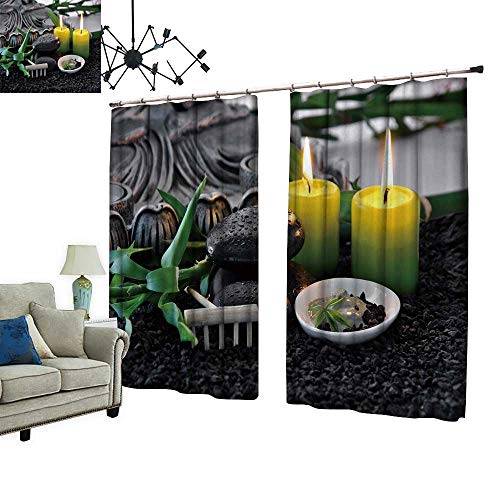 PRUNUS Blackout Window Curtain with Hook Massage Stones with Bamboo Green Clay with Scented Candles Balance Indoor Temperature,W84.3 xL84.3
