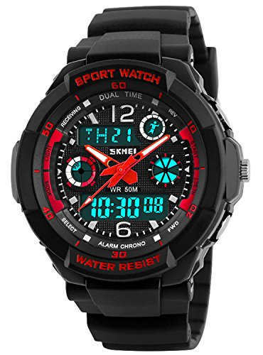 Kid Watch Multi Function Digital LED Sport 50M Waterproof Electronic Analog Quartz Watches for Boy Girl Children Gift Red