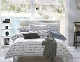 ZHIMIAN Bedding Reversible Lightweight Love Letter Print Duvet Cover Set for Teens Adults Comfortable Durable for Bedroom Guest Room, Chic Bedding Sets(1 Duvet Cover + 2 Pillow Shams)