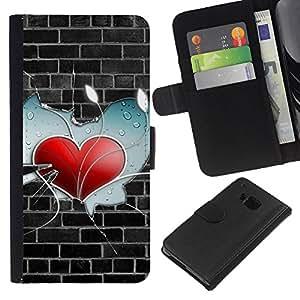 BearCase / Cuero de la tarjeta la carpeta del tirón Smartphone Slots Protección Holder /// HTC One M7 /// Heart Pared
