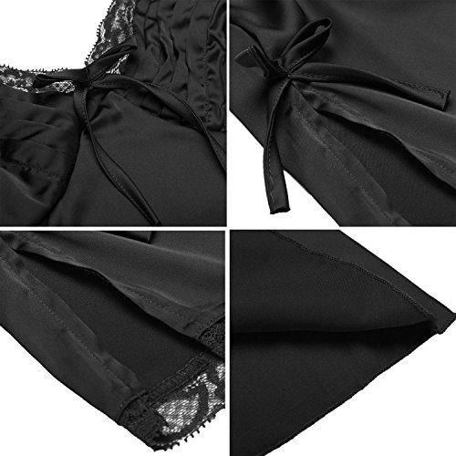 HOTOUCH Camisones para mujer pijamas verano de seda V-cuello ropa de dormir de dos piezas Negro