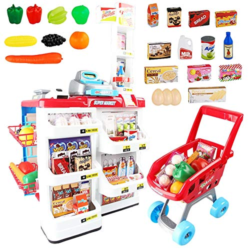 permarket Playset with Working Scanner Register Shopping Cart Play Money Pretend Play Set Toys Accessories for Kids ()