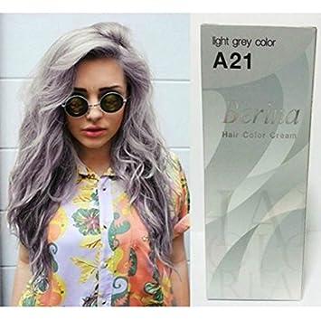 Amazon pack of 1 box berina light gray hair dye a21 hair pack of 1 box berina light gray hair dye a21 hair color cream dye light grey urmus Choice Image