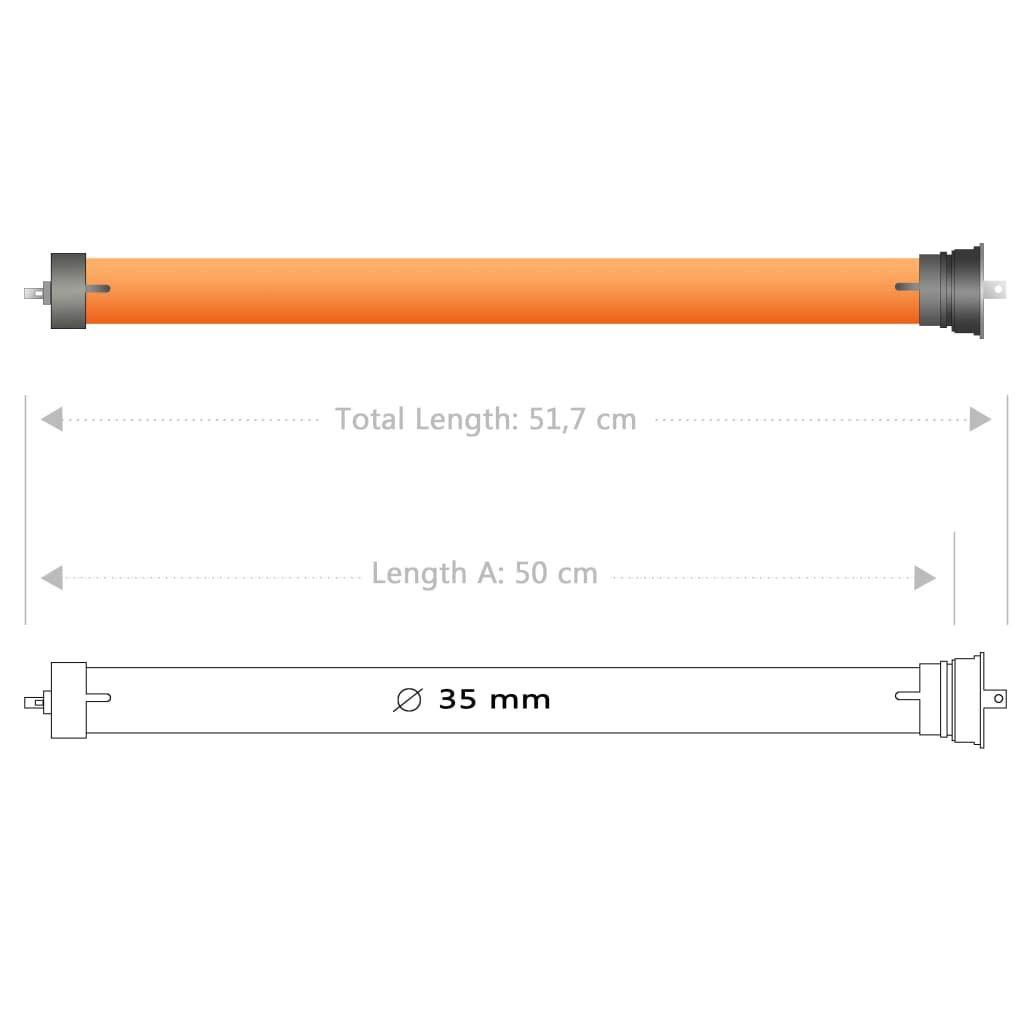 vidaXL Motor Persiana Enrollable El/éctrico 45 mm Rodillo Tubular Electromec/ánico Enrollar Persianas Parasoles Toldo 70-80 kg Peso M/áximo 40 Nm Naranja