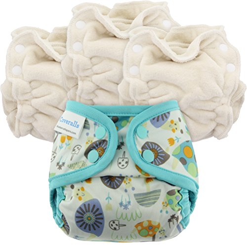 Blueberry Newborn Organic Cloth Diapers, Bundle of 3 Diapers + 1 Cover