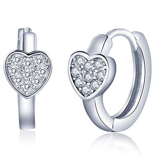 Infinite U Huggie Earrings 925 Sterling Silver Cubic Zirconia Small Hoop Star/Heart Cartilage for Women (Heart)