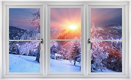 Window Scape Winter Scene Wall Decal