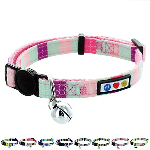 Pawtitas Pet Soft Adjustable Multicolor Cat Collar with Safety Buckle and Removable Bell Teal / Pink / Purple