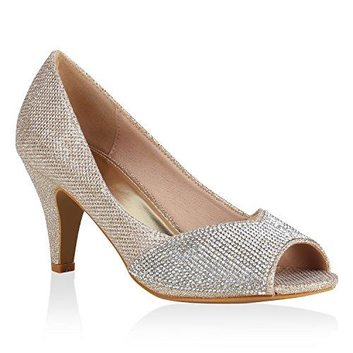 Stiefelparadies Damen Schuhe Pumps Peeptoes Strass Glitzer Party High Heels Stilettos Flandell Gold