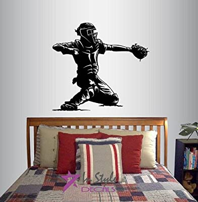 Wall Vinyl Decal Home Decor Art Sticker Baseball Catcher Player Sports Boy Teen Bedroom Room Removable Stylish Mural Unique Design