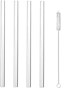 """Hiware Glass Smoothie Straws 1/2"""" Extra Wide X 10"""" Long - Reusable Drinking Straws With Cleaning Brush for Thick Smoothies, Bubble Tea and Milkshakes"""