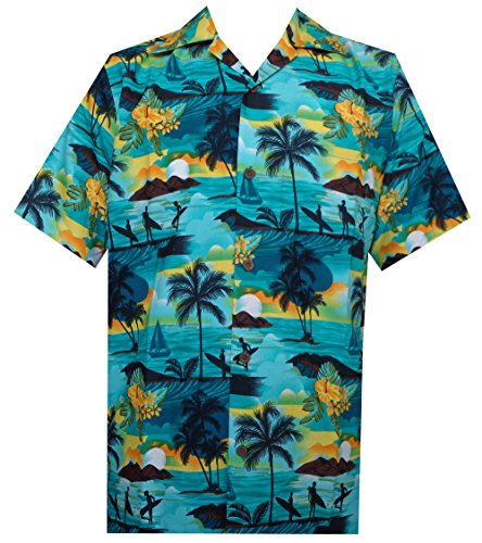 Alvish Hawaiian Shirt 43 Mens Allover Scenic Party