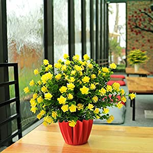 YISNUO Artificial Flowers, Fake Outdoor UV Resistant Plants Faux Plastic Greenery Shrubs Indoor Outside Hanging Planter Home Kitchen Office Wedding, Garden Decor(Yellow) 2