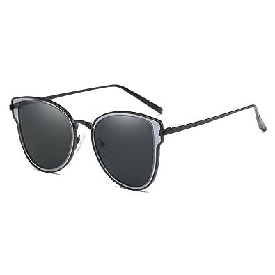 NUVOLA Sonnenbrille Brille UV Damen Herren Fashion Rund Linse Schwarz Rahmen Gold gutes Geschenk Valentinstag IG8Auhkl