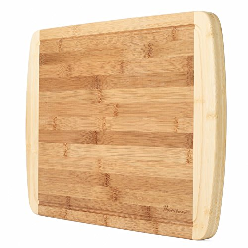Organic Bamboo [ HEIM CONCEPT ] Cutting Board and Serving Tray with Drip Groove Extra Large [ 18 x 12 inches - 1'' inch Thick ] Eco-Friendly Thick Strong Premium Bamboo Kitchenware by Heim Concept (Image #7)
