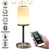 Marrado Bluetooth Speakers + Bedside Lamp, Night Light, Smart Touch Control Table Lamp for Bedroom Living Room, Portable Rechargeable LED Desk Lamp, Dimmable Warm White & Color Changing,Wood Grain