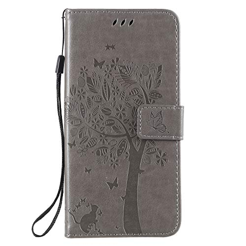 (Miagon for Samsung Galaxy S10 5G Embossed Case,PU Leather Wallet Notebook Tree Cat Butterfly Design Cover with Kickstand Card Holder and ID Slot Slim Flip Full Protective Case)