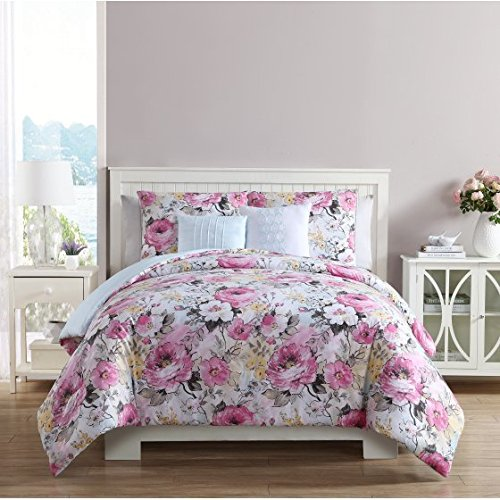 Beautiful,Stunning and Super-soft VCNY Home Multicolor Floral Printed Lucia 5 Piece Reversible Bedding Comforter Set,Decorative Pillows and Shams (Lucia Comforter Set)