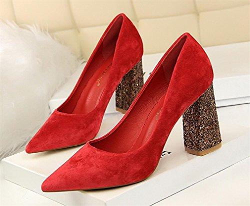 Red Filles Jaune Mariage Cour Chaussures De LUCKY Sandales Chaussures EU38 Citron Féminine De Talon A À Fête Chaussures Femme CLOVER Femmes Chunky Dames Hauts Blink Talons 71E6qS1w