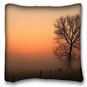 Generic Personalized ( Nature sunset fog tree fence nature ) Custom Zippered Pillow Case 16x16 inches(one sides) from Surprise you suitable for King-bed PC-Red-10529